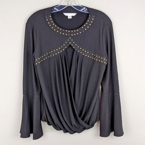 Boston Proper | Black Drape Beaded Blouse-E92